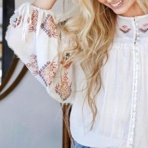 🆕Free People Embroidered Boho Blouse